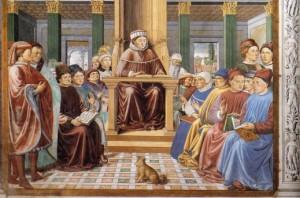 Bennozzo Gozzoli, St Augustine Teaching in Rome (scene 6, south wall). Image: via Wikimedia.