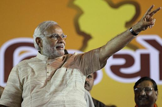 Shri Narendra Modi addresses victory rally in Ahmedabad. Image via Modi's official Flickr account.
