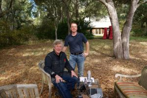 Sean Thackrey and Charles Halton at Thackrey's winery in Bolinas, California