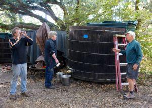 Sean Thackrey monitoring the vats