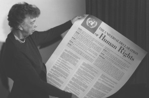 Eleanor Roosevelt and the Universal Declaration of Human Rights. Image via Wikimedia Commons.