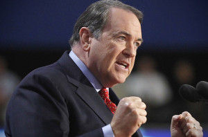 Former Arkansas Governor Huckabee addresses the third session of Republican National Convention in Tampa