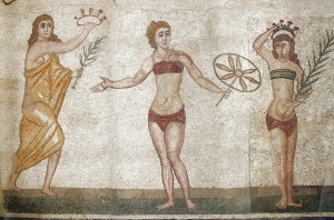Crowning Victorious Athletes. Detail of mosaic from villa del Casale, Sicily.