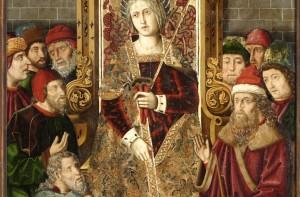"""St. Helena enthroned among Jews."" Jimenez and Bernat, c. 1480. Image via Wikimedia Commons."