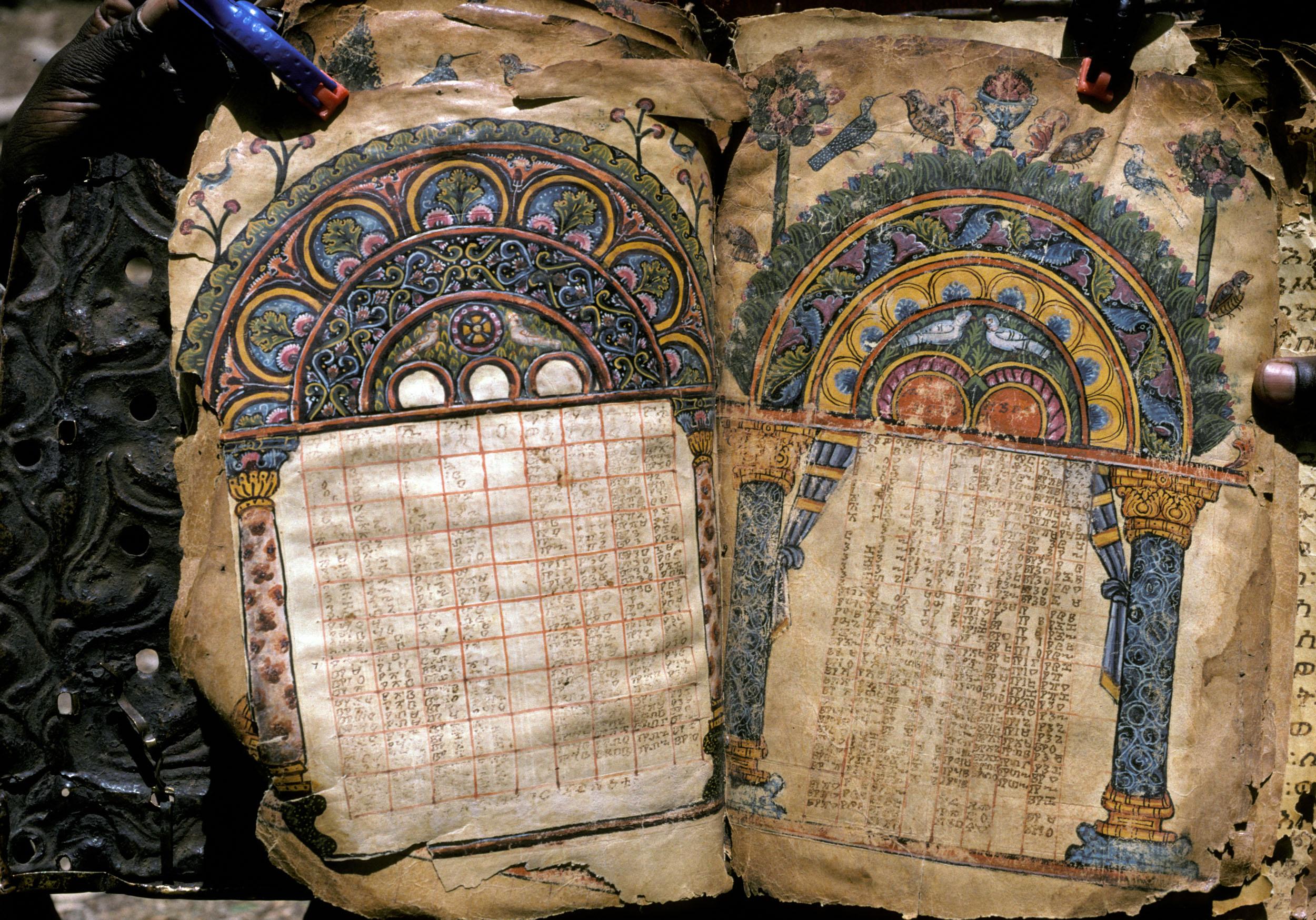 Canon tables, Abba Garima I, fols. 10v-11r