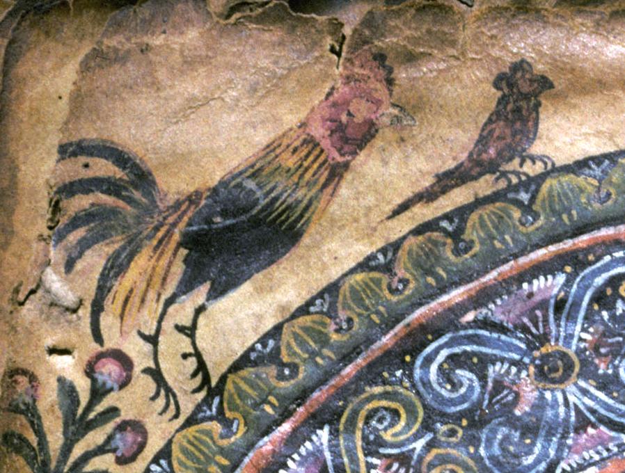 Local Ethiopian birds (Junglefowl and Crowned Eagle), Abba Garima II, fol. 257r